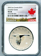 2020 $10 CANADA 2 OZ .9999 SILVER FLYING CANADIAN GOOSE NGC MS68 - EXTRA THICK