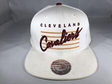 Cleveland Cavaliers NBA Mitchell & Ness Logo Snapback Throwback White Cap Hat B7