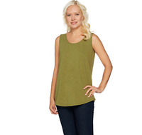 C. Wonder Essentials Tank with Scoop Neck and Shirttail Hem Olive Color Size XL