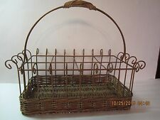 Vintage Wicker & Metal Buffet Caddy/Organizer For Flatware-Copper Color