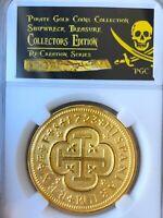 SPAIN 8 ESCUDOS 1723 GOLD PLT PENDANT JEWELRY FLEET PIRATE GOLD COINS TREASURE