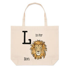 Letter L Is For Lion Large Beach Tote Bag - Funny Animal Shopper Shoulder