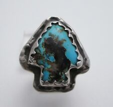 VINTAGE NAVAJO TURQUOISE & STERLING SILVER RING RARE ARROW ARROWHEAD DESIGN sz 9