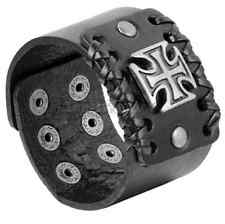 Wide Genuine Black Leather Bangle Belt Bracelet Cuff Wristband Cross