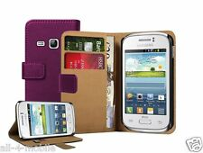 PURPLE Wallet Leather Case Cover Pouch for Samsung Galaxy Young Duos GT-S6312