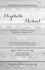 Wedding Invitations Rustic Light Wood & Lace 50 Invitations & RSVP Cards