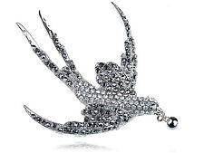 Fashion Jet Hematite Diamante Rhinestone Silver Flying Dove Bird Pin Brooch Gift