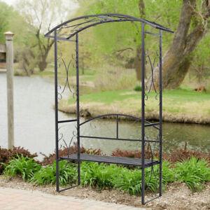 Garden Rose Arch Bench Pergola Patio Climbing Plants Outdoor Metal Trellis Seat