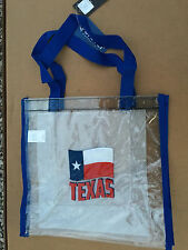 (Qty. 2) NFL approved Clear Tote Bags -  blue handle/trim  Texas Flag