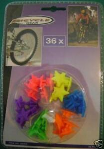 NEW 36 NEW ASSORTED COLOURED NEON COLOUR STAR SPOKE BEADS BIKE BICYCLE