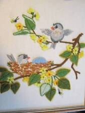 Finished Creative Circle Birds & Bees Crewel Embroidery Picture 8x9.75 Inche