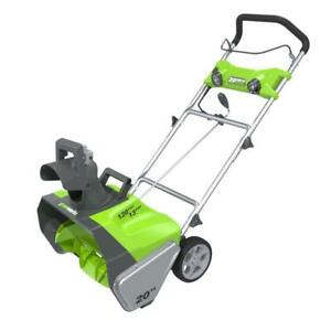 """NEW Green Works Pro Electric Snow Blower 120Volt 20"""" 13AMP 2600202"""