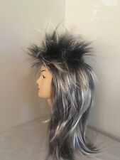 Brand New Men's 80s Silver Spikey Punk Rock Mullet Wig Costume Accessory