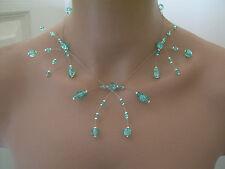 Collier original Bleu Turquoise perle de verre  robe de Mariée/Mariage