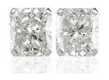 Diamond Solitaire Studs: 1ct Radiant Cut Certified D IF VG Diamonds in Platinum