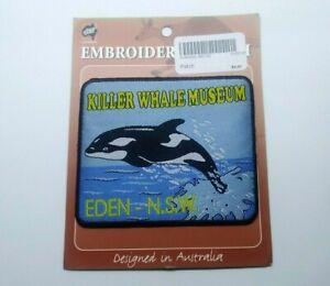 VINTAGE SOUVENIR TOURIST PATCH # BADGE KILLER WHALE MUSEUM EDEN NSW