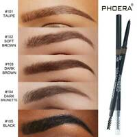 PHOERA 2-in-1 Waterproof Eye Brow Eyeliner Eyebrow Pen Pencil Brush Makeup Tools
