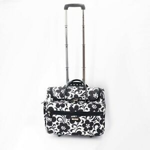 Vera Bradley Rolling Luggage Womens Suitcase Carry On Black White Night and Day
