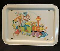 Vintage Childs TV Tray Metal Folding Cartoon Fox Rabbit Milk Train 1960's