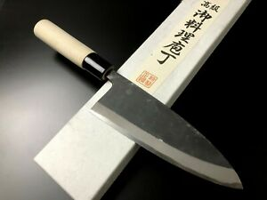 "Japanese Chef's Knife ARITSUGU Black Deba White Steel Kitchen 150 mm 5.90"" Name"