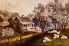524014 American Homestead Spring Currier And Ives A4 Photo Print