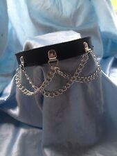 Handmade Leather & Chain loop Collar Any colour ..Bondage fetish