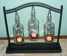 Large Metal Standing Candle Holder - Table - Tea light Glass Bottles x 3 - CF56