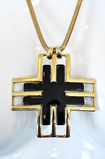 JULES SMITH 14k Yellow Gold Plated w/ Black Twitter Pendant Necklace