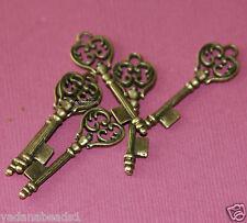 6 Antiqued brass key charm 36x11mm