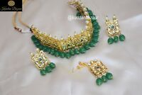 Indian Pakistani Bridal Green Pearl Necklace Earrings Kundan Bollywood Jewellery
