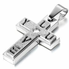 Silver Stainless Steel Frosted Cross LOVE YOU Pendant Necklace for Men Women