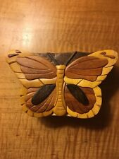 "Handmade ""Carver Dan's"" made in Vietnam wood Butterfly puzzle box"