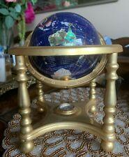 "Rotating Semi-Precious Gem Stone World Globe w Polished Brass Base 9"""