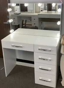 New White Modern Boahaus Matilda Vanity Table with Mirror, Lights, and 5 Drawers