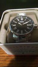 Fossil BQ1010 Rhett Silver Black Dial Stainless Steel Men's Date Watch