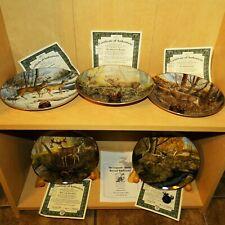 5 Bradford Exchange Plates by Ron Van Gilder Whitetail Deer Legends w/Medallions