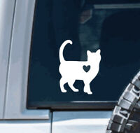 Cat with heart Vinyl Decal Sticker |  car, for hydroflask, for yeti, laptop, mom