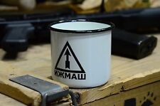 Russian, Soviet Metal Enameled Cup Mug, The Logo Of The Izhevsk Arms Plant