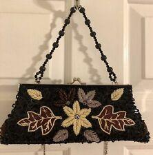 Evening Black Cream Beaded Sequined Floral Clutch Shoulder Handbag Purse