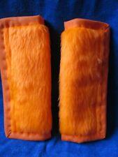 Lightly padded Faux Orange Fur, Car Seat Belt Cover Pads. Orange Trim.