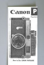 Canon P Populaire Instruction Manual photocopy