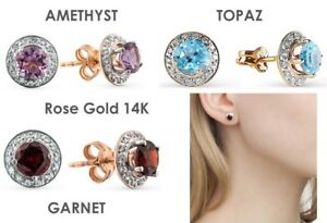 Earrings Rose Gold 14K topaz AMETHYST GARNET STONE NEW Russian fine jewelry 1.7g