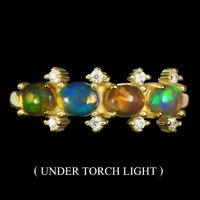 Unheated Oval Fire Opal Hot Rainbow Luster 5x4mm Cz 925 Sterling Silver Ring