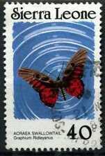 Sierra Leona 1987-89 SG#1030Ac 40 C Mariposa Sin Pie de imprenta fecha P12 usado #D67034