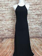 CUE Dress Size 12 Black Vintage Classic Long Maxi Evening Party Cocktail Slip