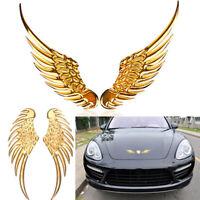 1Pair 3D Metal Angels Wing Car Auto Decoration Emblem Badge Decal Sticker Golden