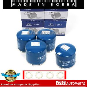 Oil Filters Washers 4pc GENUINE Fit 86-17 Elantra Santa Fe Sonata Tiburon Optima