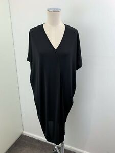 FEATHERS BOUTIQUE Black V Neck Batwing Dress with Asymmetric Seam sz M 12 [md