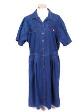 Vintage 90s Maxi Shirt Jean Dress Blue Denim Short Sleeve Button Down Size 20 W