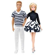 E-TING Clothes Striped T-shirt+White Pants Chiffon Dresses For Ken Barbie Doll